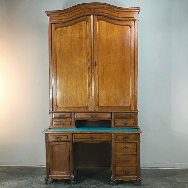 Grand 19th Century Louis Philippe Walnut Desk With Bookcase For Sale - Image 12 of 12