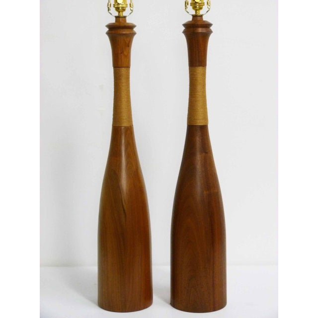 Mid-Century Walnut & Rope Table Lamps - A Pair - Image 3 of 7