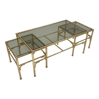 Hollywood Regency Chelsom Gold Coffee Table With 2 Side Tables - 3 Pieces For Sale