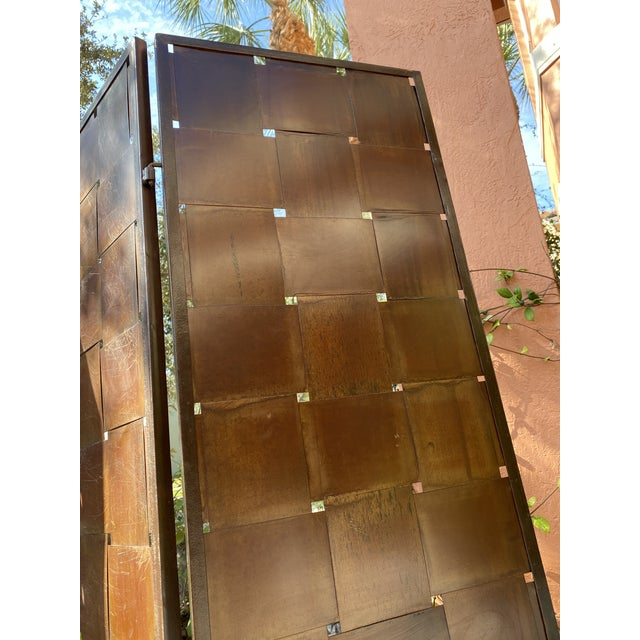 Woven Metal Folding Room Divider Screen 3-Panel For Sale In West Palm - Image 6 of 11
