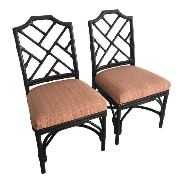 Bamboo Chippendale Side Chairs - A Pair For Sale