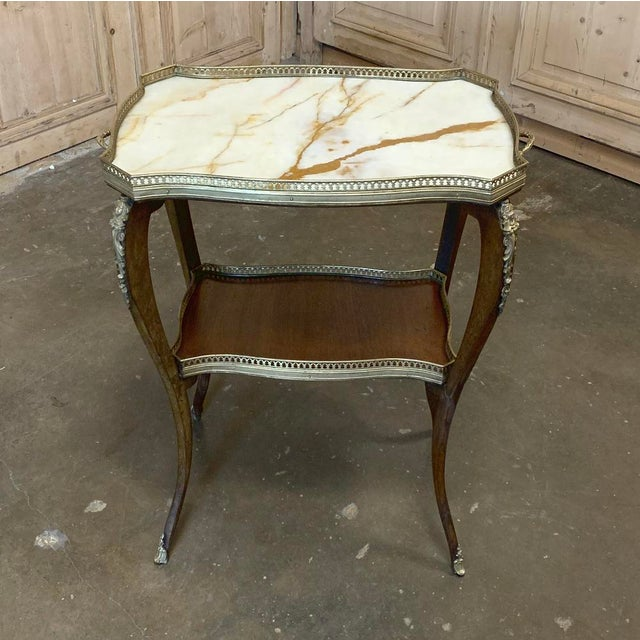 19th Century French Louis XVI Marble Top End Table For Sale - Image 4 of 13