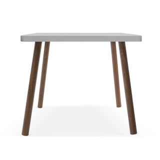 "Tippy Toe Small Square 23.5"" Kids Table in Walnut With Gray Finish Accent Preview"