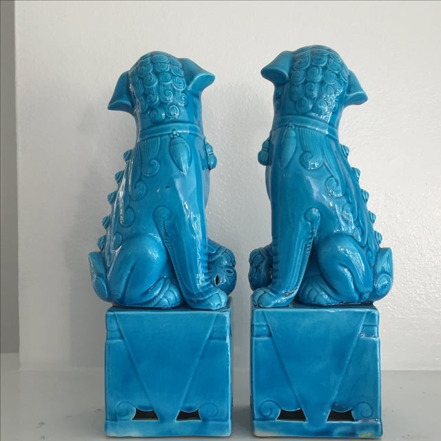 Porcelain Turquoise Foo Dogs - A Pair - Image 6 of 6