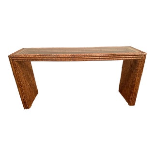 Split Reed Console Table For Sale