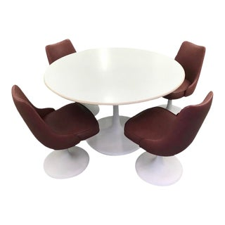 Mid Century Knoll Burgundy Swivel Chairs and Table For Sale