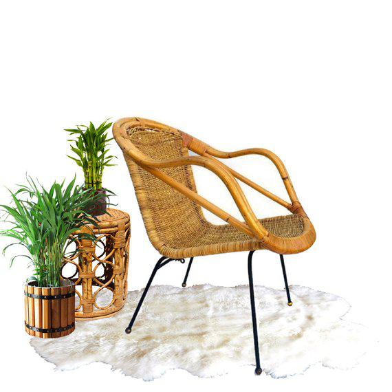 Boho Chic Mid Century Rattan & Sculpted Bamboo Hoop Chair Cast Iron Legs For Sale - Image 3 of 11