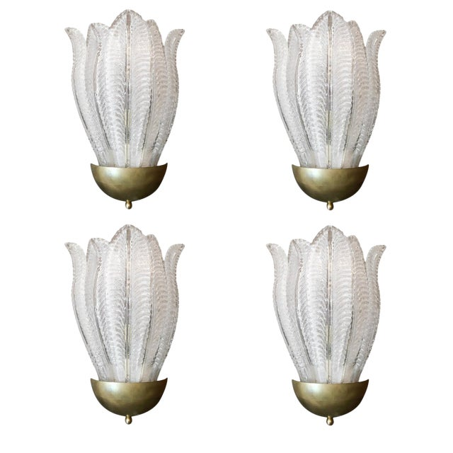 Two Pairs of Barovier E Toso Murano Glass Leafy Sconces For Sale
