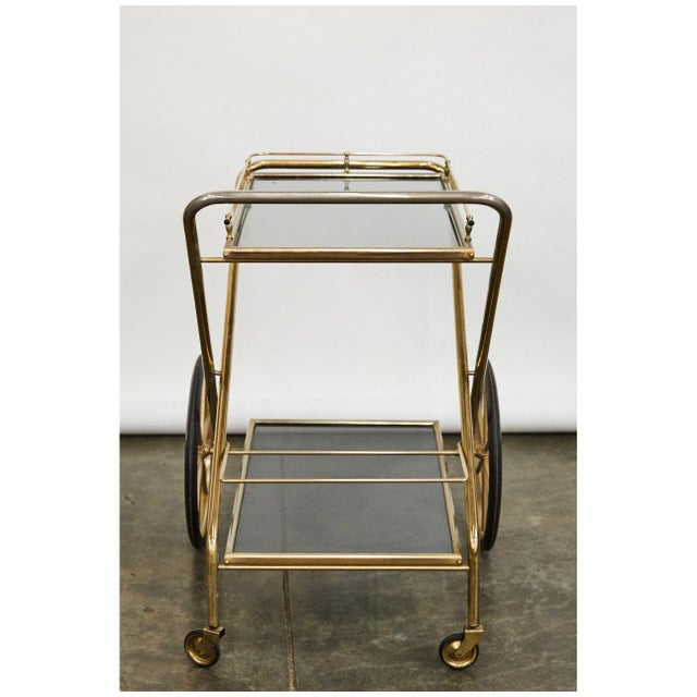 Brass and Glass Bar Cart For Sale - Image 4 of 6
