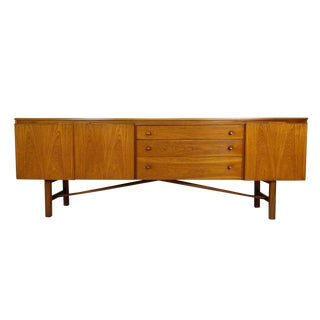 Large 7ft Mid Century Teak Credenza With Unique Legs by Nathan