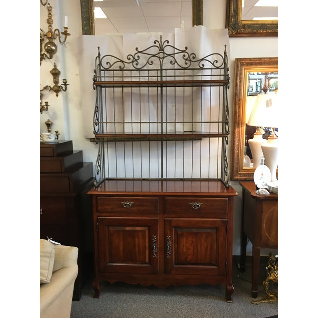 French Style Cherry wood Baker's Rack by Hickory with ornate metal work, plate grooves and silver drawer. Removable Top/Rack.