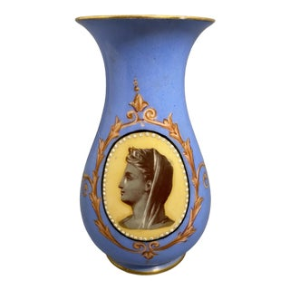Mid 19th Century Victorian Old Paris Porcelain Portrait Vase From Irwin and Lane For Sale