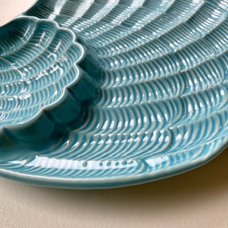 Modern Vintage Sadek by Andrea Blue & Antique White Ceramic Oyster Shell Serving Platter Preview