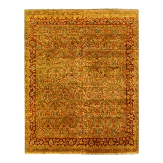Pasargad Gold Color Hand Knotted Agra Rug- 11′11″ × 14′8″ For Sale