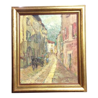 Antique 1940s Peruvian Oil Painting on Canvas Signed in Original Frame For Sale