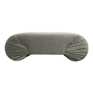 Vintage 1970s Regency Style Curved Shell Shape Velvet Bench For Sale