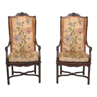 Hekman Country French Open Arm Wing Chairs - a Pair For Sale