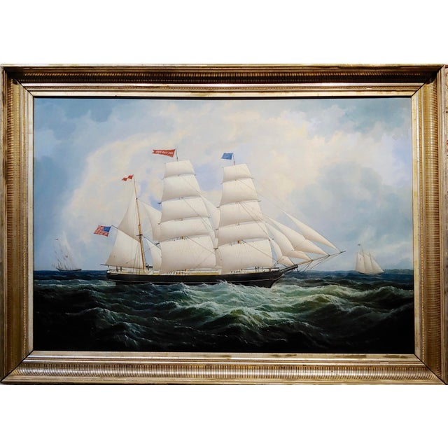 19th century portrait of an American sailing ship- oil painting -c1860s. Oil painting on canvas- circa 1860s Frame size 49...