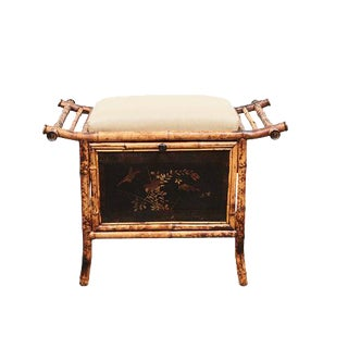 Victorian Bamboo bench with Lacquered Panels