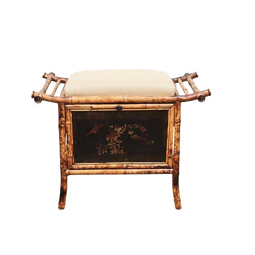 Victorian Bamboo bench with Lacquered Panels For Sale