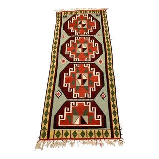 1980s Vintage Handmade Turkish Kilim Rug - 4′ × 9′ For Sale