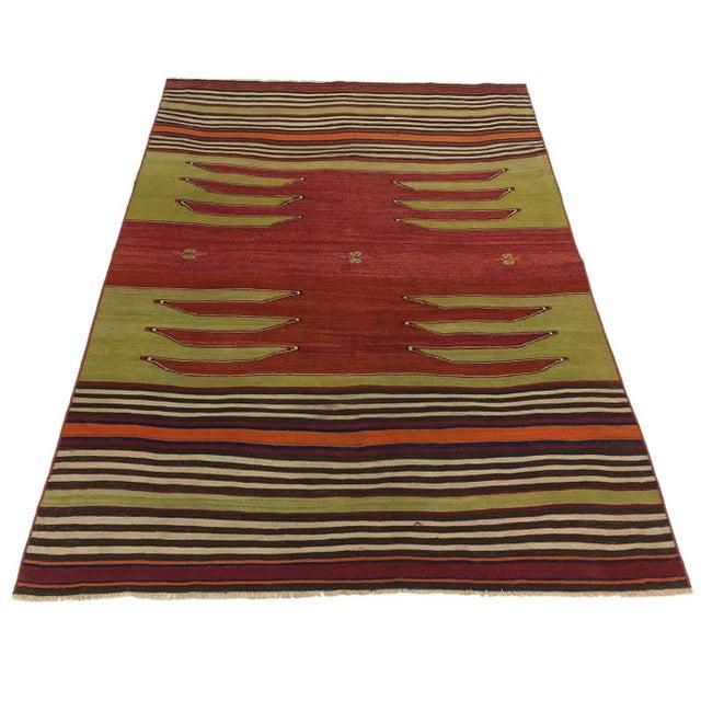 Mid 20th Century Rug & Relic Vintage Balikesir Kilim | 3'11 X 5'4 For Sale - Image 5 of 5