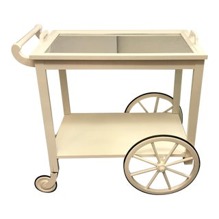 Vintage Wooden Bar Cart With Removable Mercury Glass Tray Top For Sale