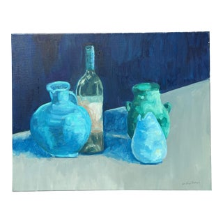 Still Life Painting in Blues and Greens For Sale