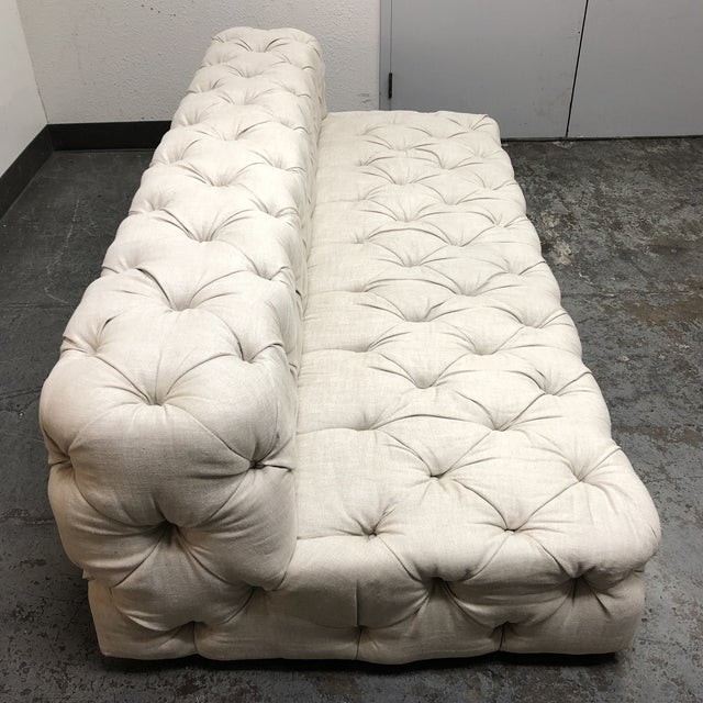 2010s Restoration Hardware Soho Armless Sofa For Sale - Image 5 of 13