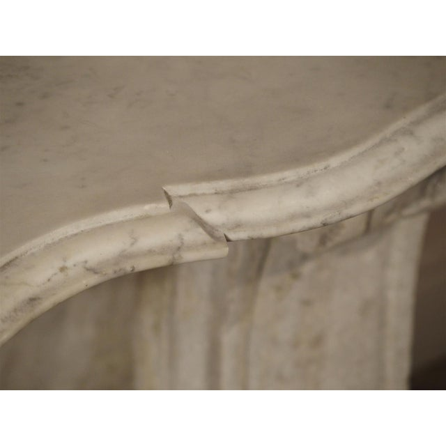 Antique Carved White Marble Console Table from France, 19th Century For Sale In Dallas - Image 6 of 13