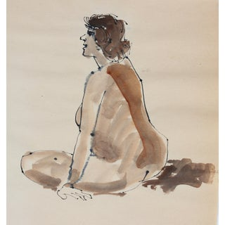 Warm Toned Seated Nude 1965 Ink & Watercolor For Sale