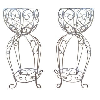 Antique White Iron Scrolling Planters - A Pair For Sale