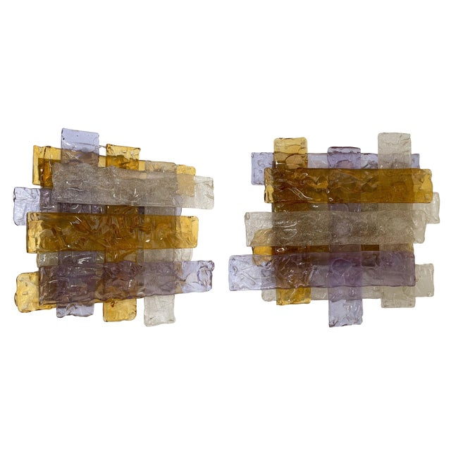Pair of Murano Glass Sconces by Venini. Italy, 1970s For Sale