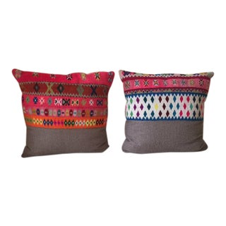 Vintage Peruvian Manta Fabric With Soft Alpaca Pillows - A Pair For Sale