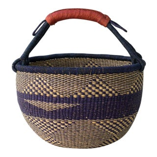 African Market Basket in Navy & Natural For Sale