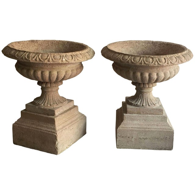 English Garden Stone Urns or Planters on Plinths - a Pair For Sale - Image 11 of 11