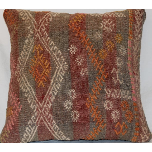 Red and Gray Vintage Handmade Wool Boho Pillow - Image 2 of 8