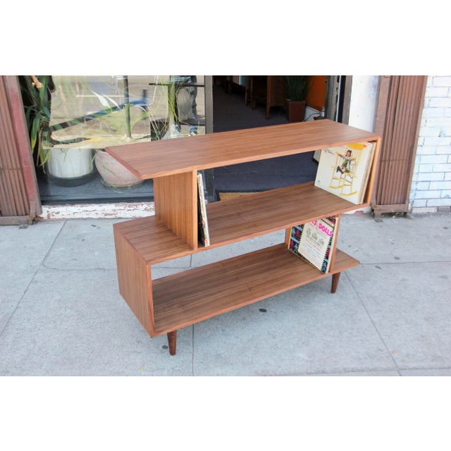 Not Yet Made - Made To Order Mid-Century Modern Brown Walnut Deep Zig-Zag Bookcase For Sale - Image 5 of 11