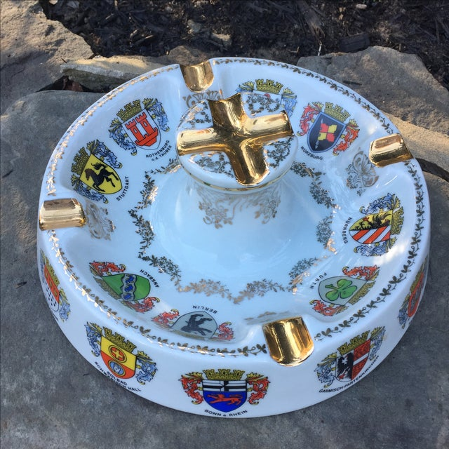 Vintage Ansbach German Crest Gold Ash Tray - Image 2 of 7