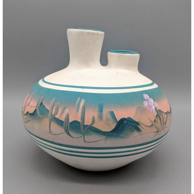 White 1969 Native American New West Hand Painted Pink and Blue Pottery Vase For Sale - Image 8 of 8