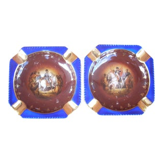 18th Century Military Scene Ashtrays - A Pair