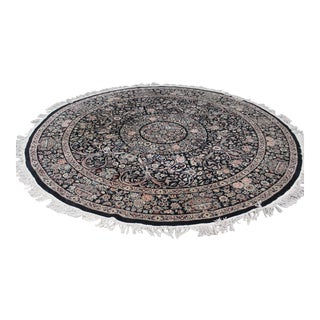 "Vintage Round Black 105"" Persian Style Rug 400 Kpsi For Sale"