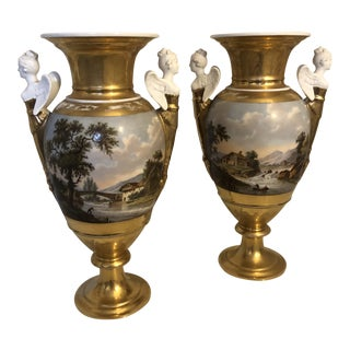 19th Century Frederic Faber Porcelaine De Bruxelles Urns-a Pair For Sale