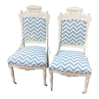 Antique Chevron Swedish Chairs - a Pair For Sale