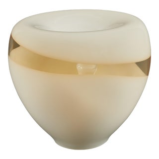 Vistosi Murano Glass Lamp in a Graceful Bowl Shape With Opaque and Amber Glass For Sale