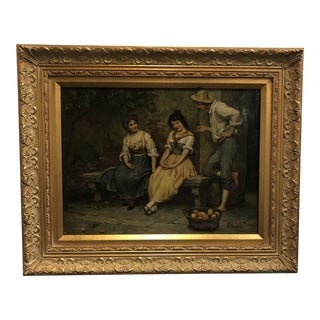 20th Century Oil Painting on Panel of Ladies and a Gentleman in a Courtyard Setting - Signed: A Tucker - Gold Frame For Sale