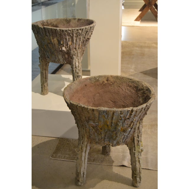 Cement Faux Bois Planters From Belgium, - a Pair For Sale - Image 10 of 11