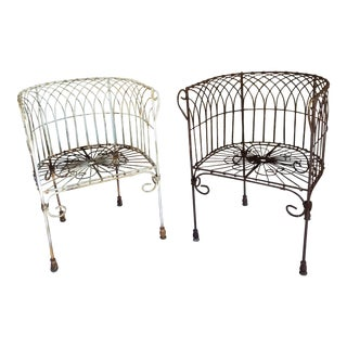 Pair of Vintage Iron Patio Chairs For Sale