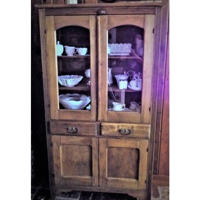 Antique Primitive Glass Door Pie Safe China Cabinet Cupboard Chairish