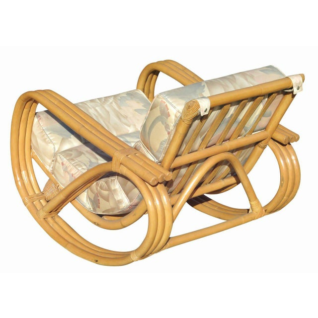 Rare Restored Pretzel Arm Rattan Rocking Chair with Ottoman - Image 5 of 9